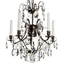 Baroque Crystal Chandelier: Dark Brass 5 arms with clear crystals