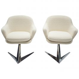 Midcentury Chrome and Bouclette Armchairs Attributed to Jacques Adnet, 1960s