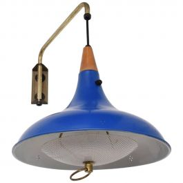Mid-Century Modern Wall Sconce with Blue Oversize Shade
