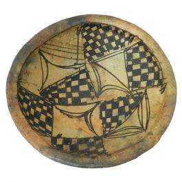 African Pottery Bowl with Primitive Geometric Pattern Early 20th Century