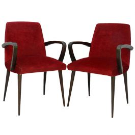 Pair French Art Deco Bridge Chairs to Recover Midcentury Open Armchairs