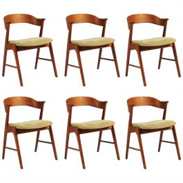 1960s Set of Six Danish Teak Dining Chairs Known as Model 32, Inc. Reupholstery
