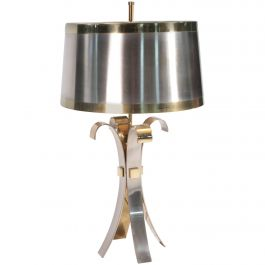 Maison Charles Brass and Steel Corolle Table Lamp 1970's