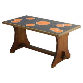 Midcentury Coffee Table Refectory Pine with Tiled Top, circa 1960s