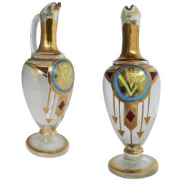 One Art Deco Enameled Glass Ewer Small Pitcher Jug French, circa 1930