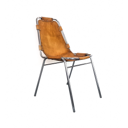 1960S Brown Leather Charlotte Perriand Les Arcs Chair