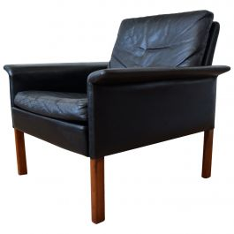 Hans Olsen Model 500 Black Leather Lounge Chair, CS Møbler, 1960s