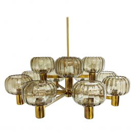 Vintage Scandinavian Brass and Glass Chandelier, 1960s