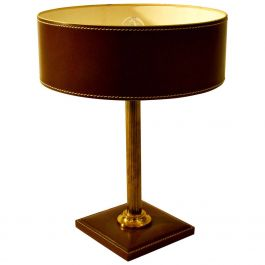 Leather Table Lamp Attributed Adnet