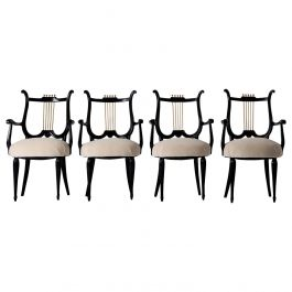 Set of 4 Art Deco Ebonized and Brass Armchairs
