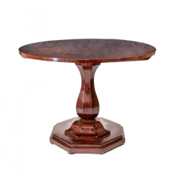 A Biedermeier circular mahogany veneered tilt-top breakfast table
