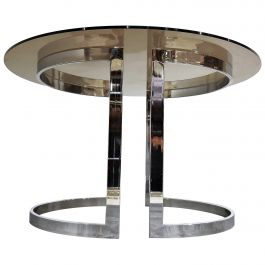 Chrome and Smoked Glass Dining Table by Milo Baughman, 1970s