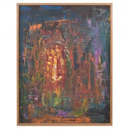 Mexican Modernist Vibrant Abstract Oil Painting Original Art, 1960s