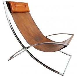 A Rare 1970's Leather & Chrome Lounge Chair by Marcello Cuneo