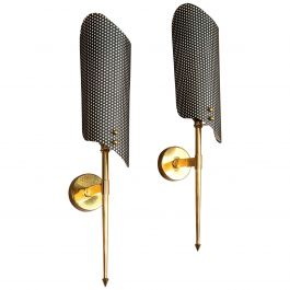 Pair of 1950s Black and Brass Metal Wall Sconces, Wall Lights after Maison Arlus