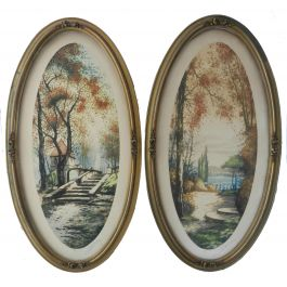 Unknown Pair French Chateau Landscape Signed by Artist Lithograph c1920 c1920