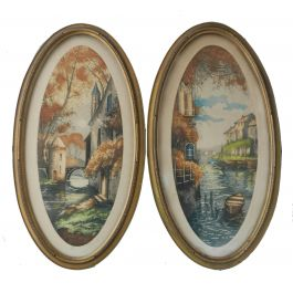 Unknown Pair French Chateau Landscape (1) Signed by Artist Lithographs c1920c 1920