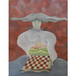 Unknown Surreal Painting Abstract La Damier Rouge Mid Century