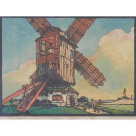 Mill by Marcel Haussaire Woodcut French c1900
