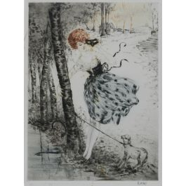 Lady with Lamb Signed by Kaby Engraving c1920 French