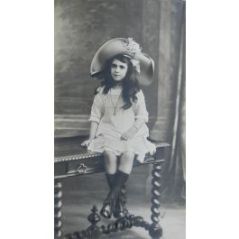Large Scale Antique Portrait Photograph Girl Bench Signed Ch Petit c1912 French