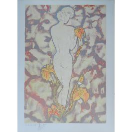Nude Amongst Flowers Lithography Signed by Artist c1987