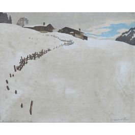 Mountain Snow Scene German Signed Engraving early 20th Century