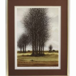 'Mid Winter Landscape' Large French Lithograph C1970