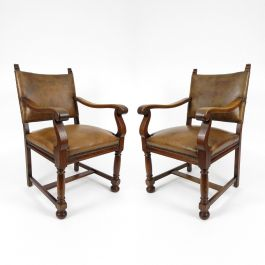 Dutch Leather Armchairs, 1940s, Set of 2