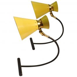 Articulated Pair Table Lamps, Yellow & Black att. to Jean B Lacroix France 1950s
