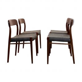 Model 75 Dining Chairs by Niels Otto Møllers for J.L. Møllers Møbelfabrik A/S, 1950s, Set of 4