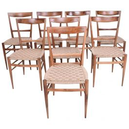 Set of Eight Italian Superleggera Dining Chairs Attributed to Gio Ponti