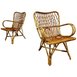 Vintage Rattan Lounge Chairs, 1960s