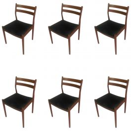 1960s Set of Six Danish Poul Volther Dining Chairs, Upholstery of Choice