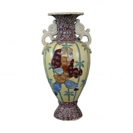Vintage Baluster Vase, Decorative, Oriental, Ceramic, Urn, 20th Century