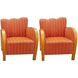 Art Deco Swedish Early 20th Century Armchairs Fluted Back Bentwood Arms