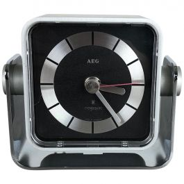 Vintage 1980s Modernist Space Age Megaquarz Metal Table Clock by AEG, Germany