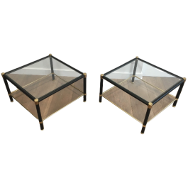 JACQUES ADNET STYLE. PAIR OF LEATHER SIDE TABLES