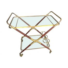 Italian Rosewood and Brass Bar Cart