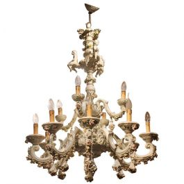 Capodimonte Porcelain Twelve Lights Chandelier with Putti and Floral Patterns