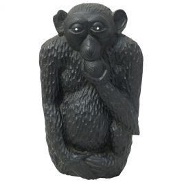 Ebony Monkey Sculpture Early 20th Century African Hand Carved One of a Kind