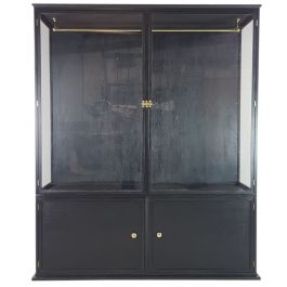 HANDMADE BLACK PAINTED PINE AND GLASS WARDROBE