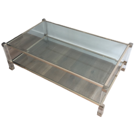 Large Acrylic And Chrome Coffee Table. French