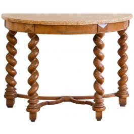 A Walnut Demi-Lune Console Table With An Aleppo Marble Top