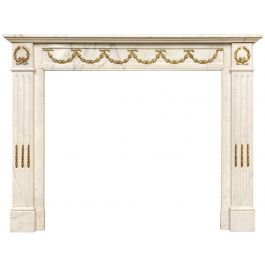 Antique Statuary White Marble French Louis XVI Style Fireplace Mantel