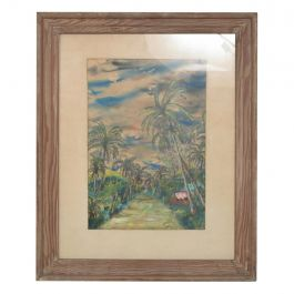 Tropical Paradise Hawaii 1953 Art Painting N. KATZ