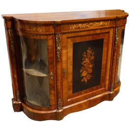 19th Century English Victorian Figured Walnut and Marquetry Credenza