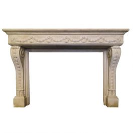 Large French Limestone Louis XVI Style Fireplace Mantel
