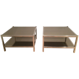 Chrome And Bronze Mirror Side Tables