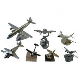 Mid-Century Modern Collection of Eight Aluminium, Chrome Plane Model Sculptures